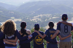 Students facing the Hastings Reserve Mountains during a field trip.