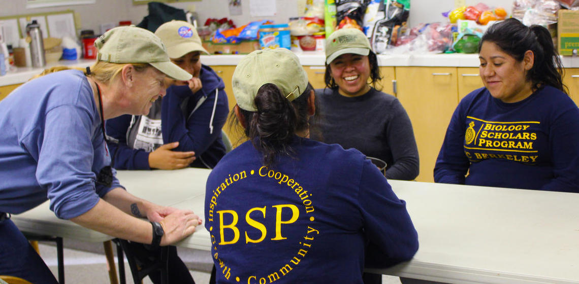 BSP Students gathered around the table with a faculty mentor.